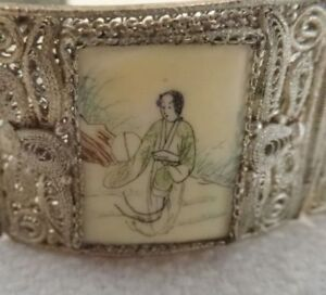 Vintage Very Old Handcrafted Chinese Characters Silver Filigree Bracelet