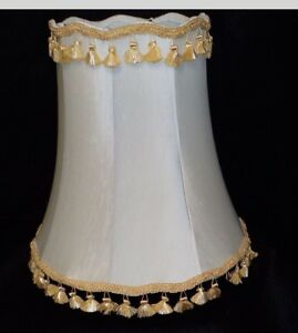 Vintage Pair Silk Fluted Lamp Shades Large Mid Century Hollywood Regency