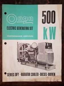 Onan 500 Kw Electric Generating Set Brochure