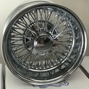New 14x7 Inch Chrome 72 Spoke Cross Lace Wire Wheels Rims Lowrider Set Of 4