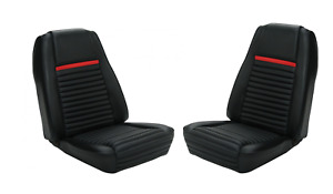 1969 Ford Mustang Coupe Deluxe Black Red Front Bucket Rear Seat Covers 068619