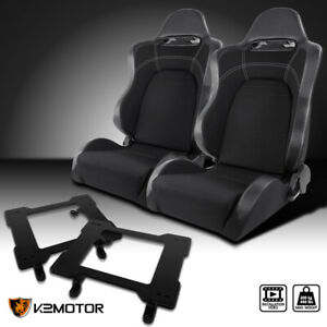 Fit 1979 1998 Mustang Carbon Gray black Cloth Racing Seats laser Welded Brackets