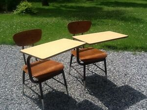 2 Vintage Same Wood Metal School Desks W Chairs Very Good
