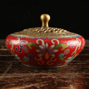 China Antique Handmade Bronze Hollow Out Lid Gild Colour Enamels Incense Burners