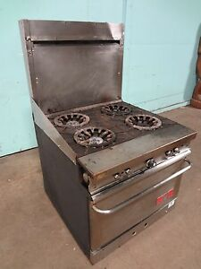 Franklin Chef Commercial H d Nat gas 4 Burners Stove Range W oven Casters