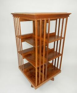 Large Danner Style Solid Cherry Wood Revolving Bookcase 45 Inches