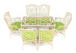 Vintage Palm Beach Tropical Rattan Fretwork Chippendale Dining Table