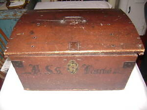 Antique Pennsylvania German Dome Top Locking Trunk Circa 1840 Old Red Paint