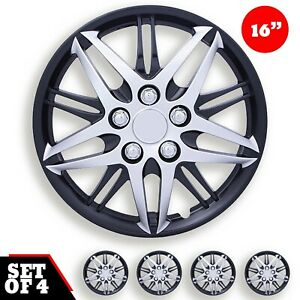 Set Of 4 Hubcaps 16 Wheel Cover Baru Silver Black Abs Quality Easy To Install