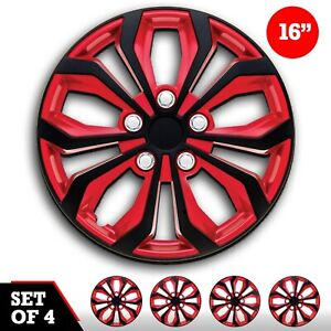 Set Of 4 Hubcaps 16 Swiss Drive Wheel Cover spa Red Black Abs Easy Install