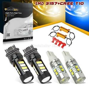 4x 3157 Switchback Blue amber 3357a 168 175 Led Turn Signal Parking Light Bulbs