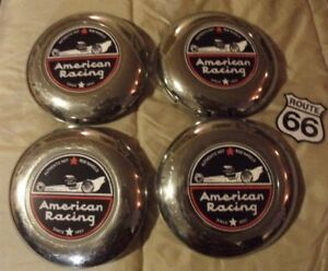 Set X4 1956 1960 S American Racing Custom Chrome Wire Spoke Wheel Center Caps