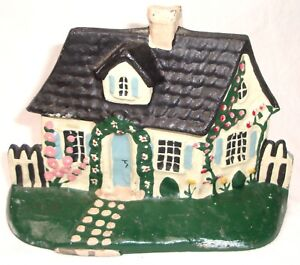 Vintage Hand Painted Farmer S Cottage Cast Iron Door Stop 0 Fast Ship