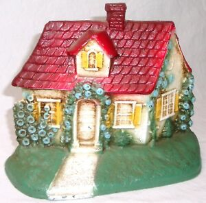 Vintage Hand Painted Farmer S Cottage Cast Iron Door Stop In Nm Cond 0 Ship