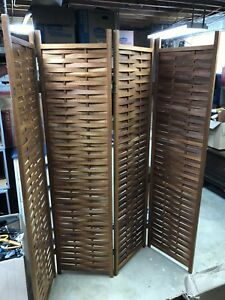 Antique Japanese 4 Panel Wood Screen Room Divider Free Shipping To Us
