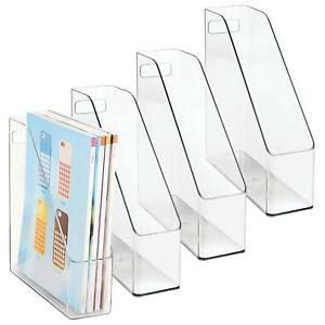 Mdesign Plastic File Folder Bin Storage Organizer Vertical With Handle Holds