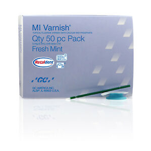 Gc Mi Varnish Fluoride Calcium Phosphate Fresh Strawberry Fresh Mint 50 Pcs