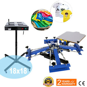 4 Color 1 Station Screen Printing Press Machine 18x18 Silk Screening Flash Dryer