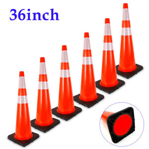 36 Inch Safety Traffic Cones 2 Reflective Collar 6 Package Black Base Superior