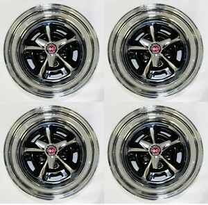 New Mustang Magnum 500 Wheels 15 X 7 15 X 8 Complete W Caps Nuts Spinners