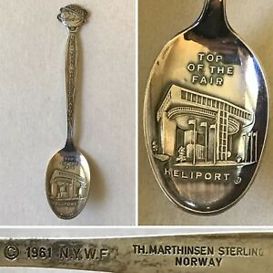 Vintage New York Worlds Fair Heliport Sterling Spoon Th Marthinsen Norway