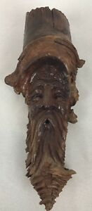 Unusual Signed Carved Wooden Sculpture Old Man Face