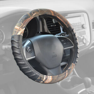 Muddy Water Camouflage Pattern Black Synthetic Leather Steering Wheel Cover