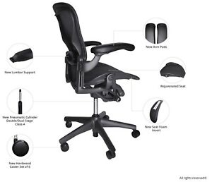 Fully Loaded Herman Miller Classic Aeron Chair Size B free Hardwood Caster