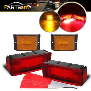 Pair Rectangle Red Stop Turn Tail Lights W 2x Amber 3 Led Reflective Side Marker
