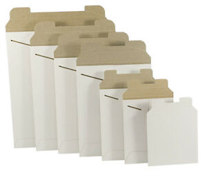 100 11 X 13 1 2 White Stay Flat Rigid Tab Lock Mailing Envelopes