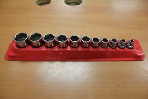 Snap On 211fsy 11 Piece 3 8 6 Point Sae Flank Shallow Socket Set