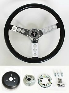 New 1970 1973 Mustang Black Steering Wheel 14 1 2 With Chrome Spokes Horn Kit