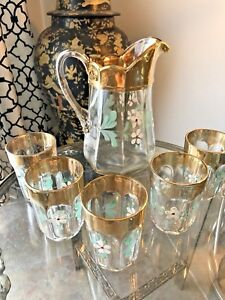 Victorian Glass Pitcher 5 Glasses Enameled Floral Clear Gold Must See