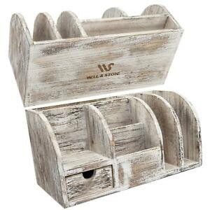 Well Stone Desk Organizer Home And Office Supplies Rustic Wood Desktop