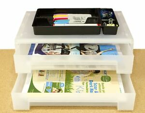 2 tier Large Office Desk Organizer Document Tray Storage Box Drawer For
