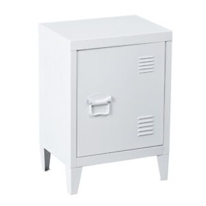 White Urban Loft Bedside Tables Industrial Vintage Locker Style Side Tables