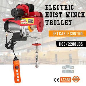 Electric Wire Rope Hoist W Trolley 1100 2200lbs 40ft Suspending A3 Steel 110v