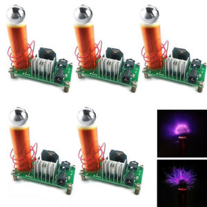 5pcs Mini Tesla Coil Creative Diy Kit Plasma Speaker With Stainless Ball Set 15w