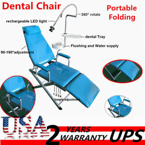 Dental Chair Portable Folding Chair Unit Water Supply Flushing W Led Light Ups