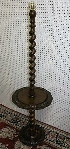 Antique Country French Barley Twist Carved Walnut Floor Lamp C 1890