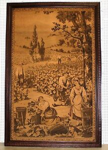 Antique Pair 2 7 Feet Tall French Verdure Grape Wheat Harvest Tapestry C1870