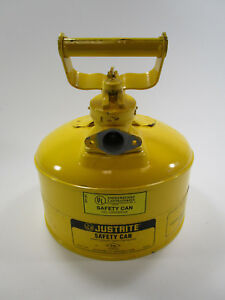 Justrite Safety Can 1 Gallon One Gasoline Gas Diesel Yellow