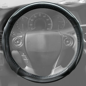 Carbon Fiber Pu Leather Steering Wheel Cover Medium Black And White