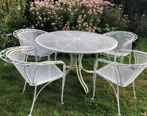 Vintage Salterini Mcm Mid Century Modern Wrought Iron Patio Outdoor Furniture