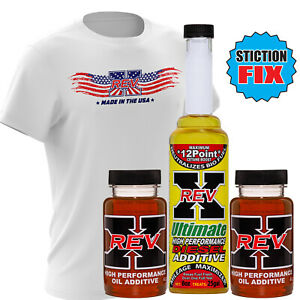 Rev X Ultimate Stiction Fix Oil Additive And Fuel Treatment Free Revx Shirt