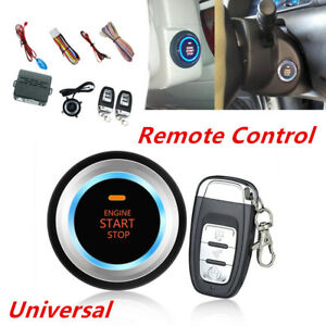 Car Alarm System Security Push Button Remote Engine Start Stop led Sensor Lights