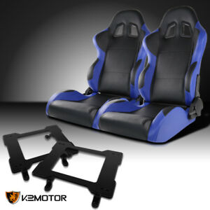 Fit 1979 1998 Mustang Black blue Pvc Leather Racing Seats laser Welded Brackets