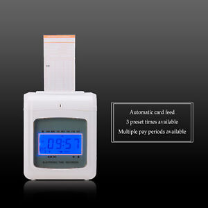 Electronic Employee Time Recorder Clock Machine For Business Offices Payroll