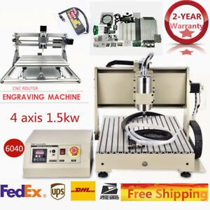 4axis 6040 Cnc Router Engraver 3axis Router Machine Water cooling 110v 1 5kw Vfd