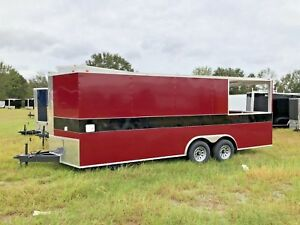 New 8 5x20 Enclosed Concession Food Vending Bbq Trailer W Porch Deck Water Ac